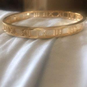 "Jewelry - Roman numeral Bracelet 7"" Gold"